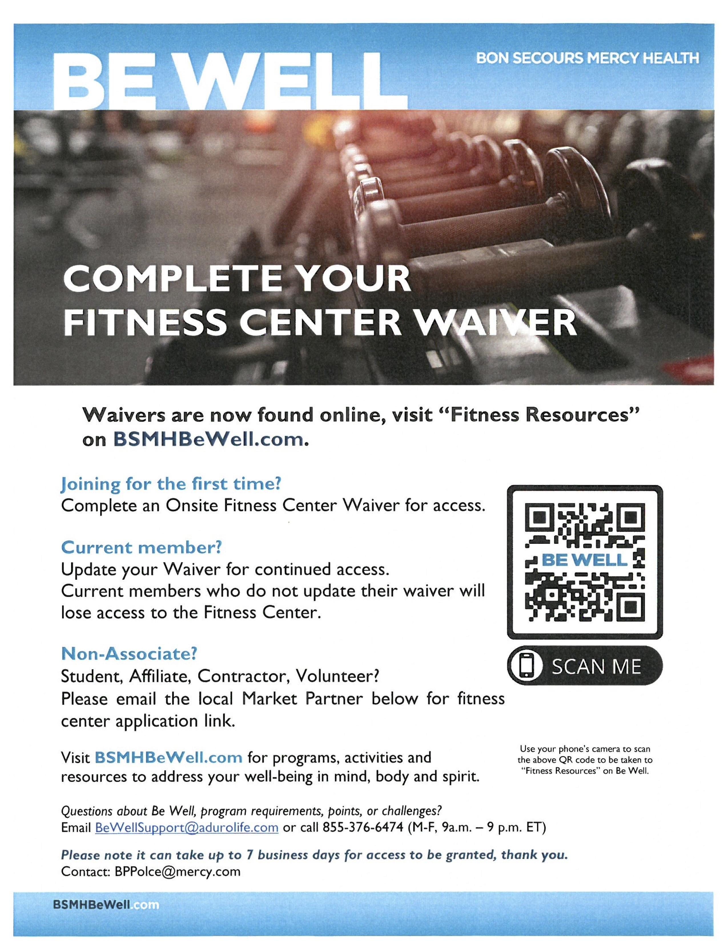 Fitness center sign up flyer